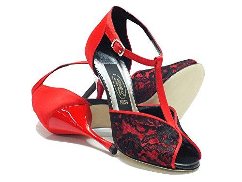 Rouge Dance Vitiello Danse Rosso Rosso Nero Macramè Femme De Chaussons Raso Shoes Pour Consuel T66q7S