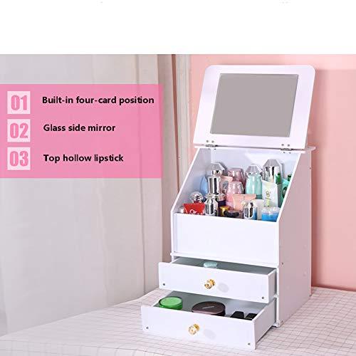 Cosmetic Storage Box Mirror Drawer Makeup Organiser For Dresser Bedroom Or Bathroom Make up Holder,White ()