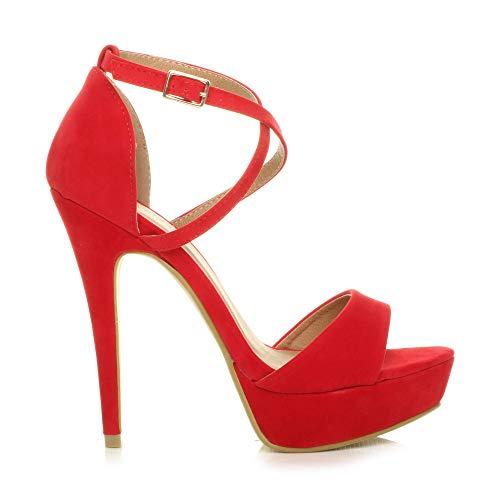 Tacco Rosso Scamosciata Cinturini Alto Taglia Donna Fibbia Aperta Scarpe Sandali Incrociati Punta BHRxTqw