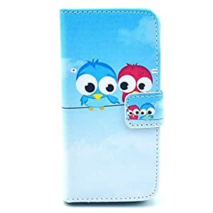 SOL Two Dialoguing Birds Pattern on Blue PU Leather Full Body case for iPhone 5/5S