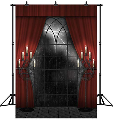 DePhoto 5X7FT(150X210CM) Halloween Party Theme Wooden Floor Red Curtain Lightning Night Backdrop Customized Seamless Vinyl Photography Photo Background Studio Prop -