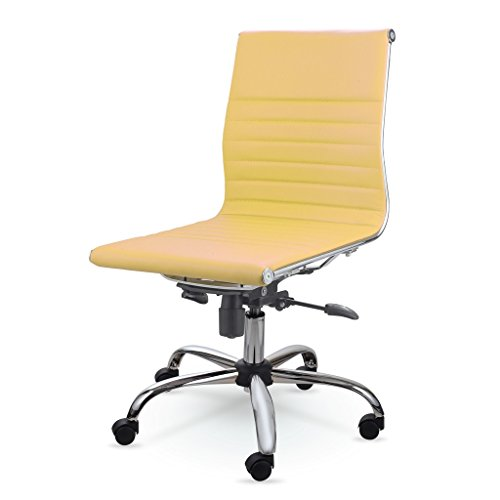MID-BACK LEATHER CONFERENCE OFFICE CHAIR MZN6912 (Yellow) (Yellow Chairs Desk)