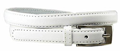 AimTrend Women's Belt Skinny Narrow Genuine Leather Fashion Dress Accessory-White-M