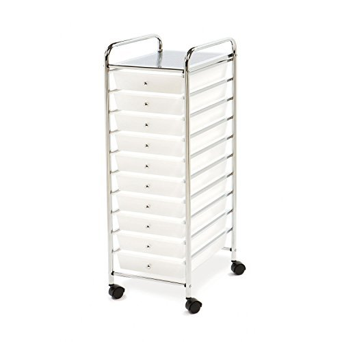 Multi-Use 10 Drawer Rolling Cart , Clear White and Chrome by Seville Classics