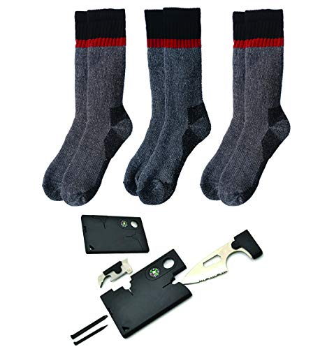 Thermal Merino Wool Winter Socks & Knife Survival Tool | Men & Women 3 Pack (Orange Red Orange)