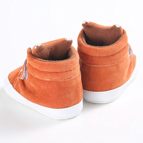 FNKDOR Baby Mädchen Jungen Fuchs Lauflernschuhe Rutschfest Canvas Schuhe Stiefel Orange