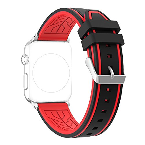 Bands for Apple Watch 38MM, Rosa Schleife iWatch Wristband Silicone Sport Straps Replacement Band with Classic Stainless Steel Buckle for Apple Watch Series 3/2/1, Sport , Edition, Black & Red