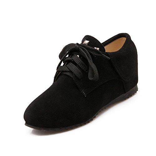 BalaMasa Ladies Bandage Heighten Inside Round-Toe Suede Flats-Shoes Black DPjuW