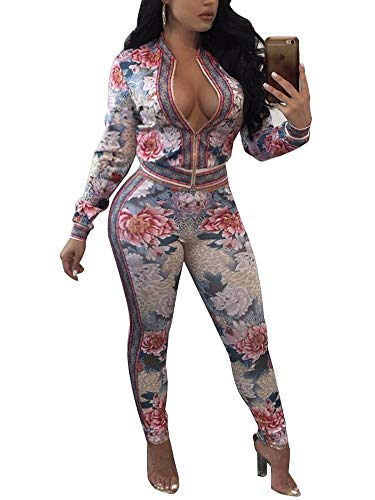 712aab34b14b Women s 2 Piece Outfits Floral Jumpsuits Short Sleeve Loose High Waist Long  Pants Casual Rompers Tracksuits