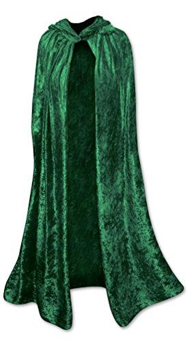 Hooded Dark Green Crush Velvet Cape Plus Size
