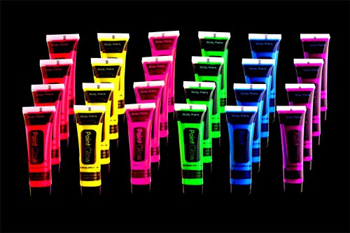 UV Glow Blacklight Face and Body Paint 24 tubes/Box Neon Face Paint in the Dark Black Light -