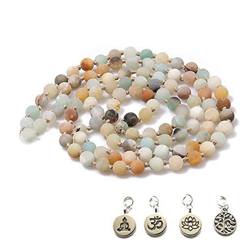 BALIBALI 8MM 108 Mala Beads Necklace Semi-Precious Gem Stones Tibet Tibetan Mala Meditation Necklace 108 Hand Knotted Japa Yoga Beaded Necklace ()