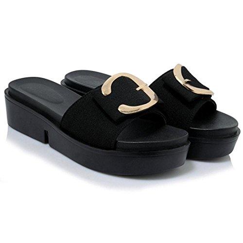 Coolcept Mujer Verano Moda Mulas Sandalias Black