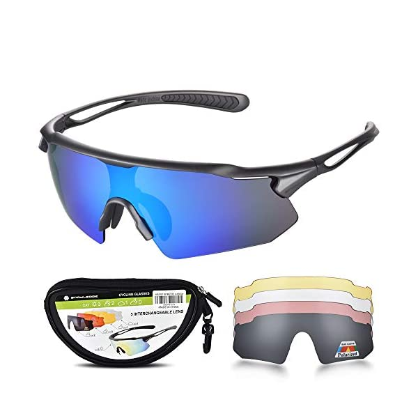 HUBO SPORTS Cycling Glasses, TR90 Unbreakable Frame Polarized Sports Sunglasses,...