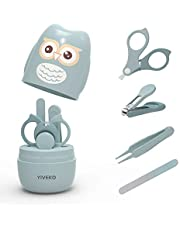 YIVEKO Baby Nail Kit, 4-in-1 Baby Nail Care Set with Cute Case, Baby Nail Clipper, Scissor, Nail File & Tweezer, Baby Manicure Kit and Pedicure kit for Newborn, Infant, Toddler, Kids