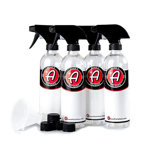 Adam's Empty Labelled Bottle 16oz 4 Pack - Heavy Duty, Chemical Resistant Bottle and Sprayer - Perfect for Gallon Refills
