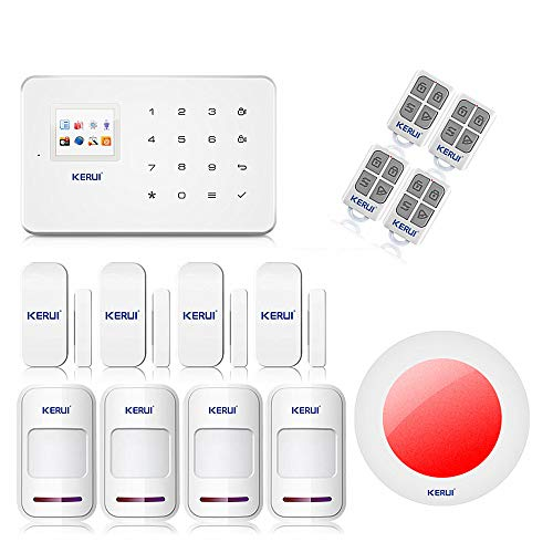 KERUI G18 alarma casa teclado inalámbrico G18 GSM con sirena interior, detectores de apertura/Avisador de intrusión, Kit de alarma Detector de movimiento, ...