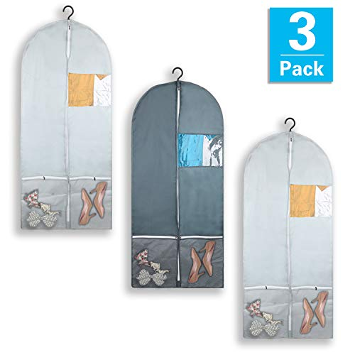"""Garment Bag with Pockets Set, Dance Costume Bags 53"""" x 23"""" for Dance Competitions, Travel, Storage Closet, Suits, Dress, Coat, with 2 Medium Zipper Pockets and 1 Clear Visible Window (Pack of 3)"""