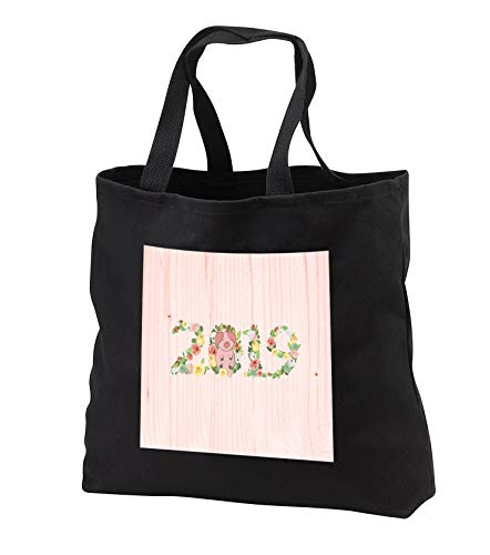 Beverly Turner Chinese New Year Design - Flowered 2019 with Pink Pig on Zero, Pink Wood Look, Chinese New Year - Tote Bags - Black Tote Bag 14w x 14h x 3d (tb_287013_1)