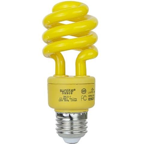 Sunlite SM13/Y 13-watt Spiral Energy Saving Compact Fluorescent CFL Light Bulb (40-Watt Incandescent Equivalent), Medium Base, Yellow (Bug - Yellow Cfl