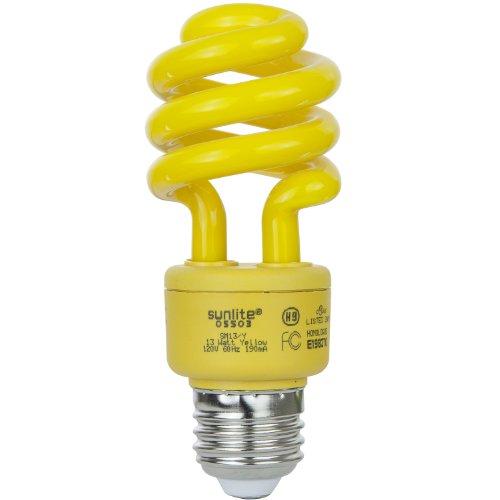Sunlite SM13/Y 13-watt Spiral Energy Saving Compact Fluorescent CFL Light Bulb (40-Watt Incandescent Equivalent), Medium Base, Yellow (Bug (13w Yellow Bug)