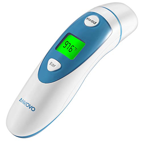 ANKOVO Thermometer for Fever Digital Medical Infrared Forehead and Ear Thermometer for Baby, Kids and Adults with Fever Indicator 20 Second Rectal Thermometer