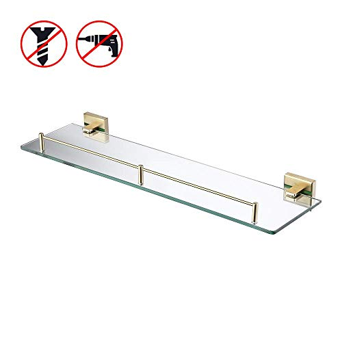 KES Bathroom Glass Shelf with 6 MM-Thick Tempered Glass and SUS 304 - Bathroom Tempered Mirrors Glass