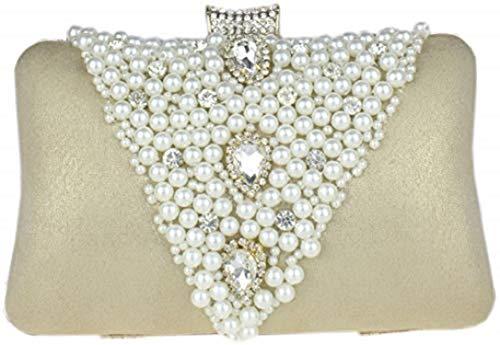 Bettyhome Women Pearl Beads/Rhinestone Brooches Hard Case Clutch Evening Bag