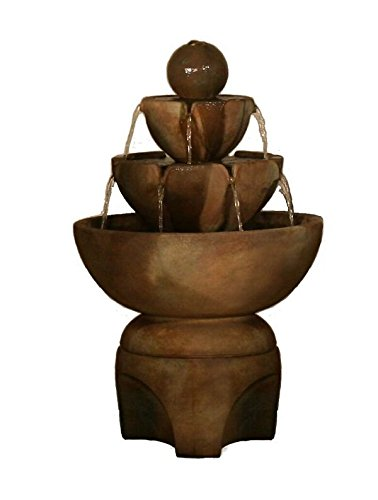 Henri Studio 4 Piece Low Stone Vessels Fountain on Pedestal, Relic Terra