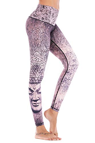 Chisportate Women High Waist Yoga Legging Power Flex Tummy Control Workout Stretch Sport Yoga Pants for Gym Exercise - Yoga Pants Printed