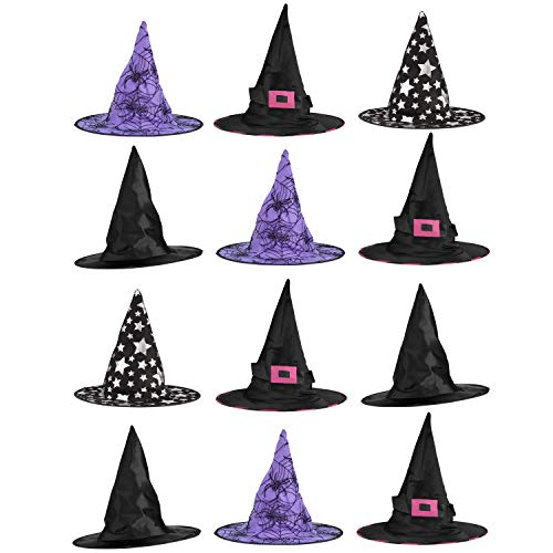 Big Mo's Toys Halloween Witch Hats Costumes for Kids - Varied Designs 12 Pack