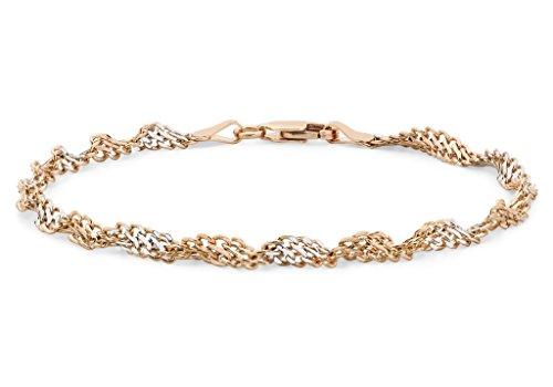 """9ct or 2couleurs de bracelet gourmette 19cm/7,5"""""""