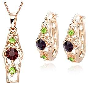 Arttractive Jewelry Set in Deep Purple & Green (QR