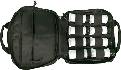 Portable Spice Bag for Travel or Outdoor use comes with 8-3.4oz. BPA Free Refillable Spice Containers