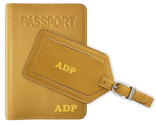 Personalized Monogrammed Yellow Leather RFID Passport Cover Holder and Luggage Tag (Monogrammed Passport Cover)