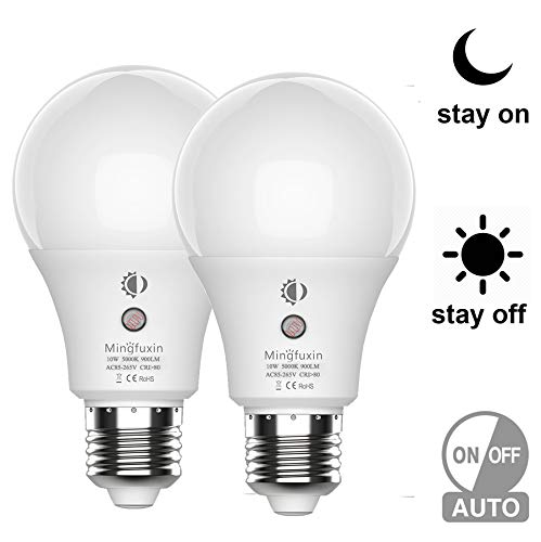 Dusk to Dawn Sensor Light Bulb - No Flicker and Stable 360°Auto ON/Off LED Smart Bulbs E26 A19 10W Porch Light Bulbs for Yard Patio Garage Garden Daylight 5000K 2 Pack by Mingfuxin