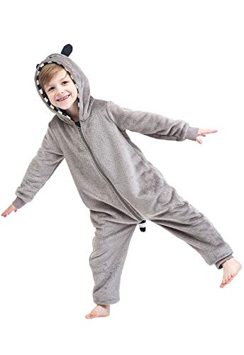Anna King Kids Animal One-Piece Pajamas Costume Hooded Cosplay Onesies Plush Sleepwear for Girls & Boys Raccoon Size 8 -