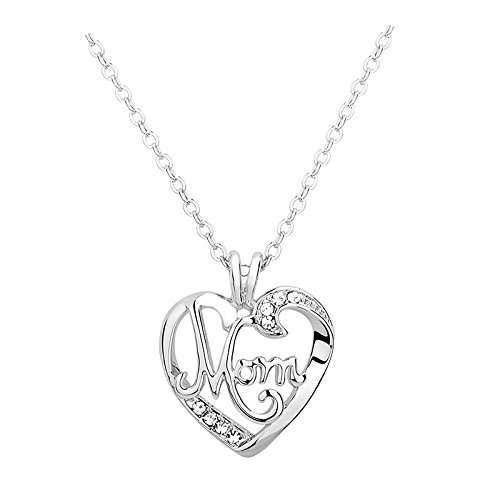 Mom Christmas Gifts Necklace - Mother Heart Pendant Necklace Mothers Day Necklace for Women from Daughter Son White