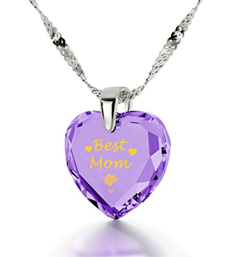 925 Silver Best Mom Necklace - Heart Pendant Inscribed in 24k Gold on Light Purple Cubic Zirconia