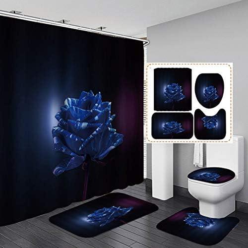 Fashion_Man 16PCS/Set Luxury Royal Blue Rose Shower Curtain, Elegant Art Flower Bathroom Set Waterproof Fabric Polyester Bath Curtain, Non-slip Bathroom Rugs Bath Mat Toilet Rug, Blooming within the Night