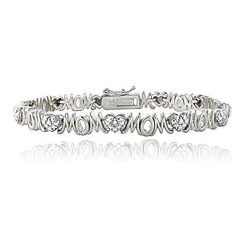 (Glitzs Jewels Silver Tone Brass Simulated Diamond Accent Heart and Mom Tennis Bracelet)