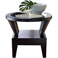 Abbyson Fairfax Round Glass End Table