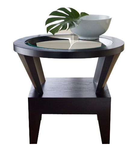 Abbyson Fairfax Round Glass End Table (Oak Dining Table With Glass Top)