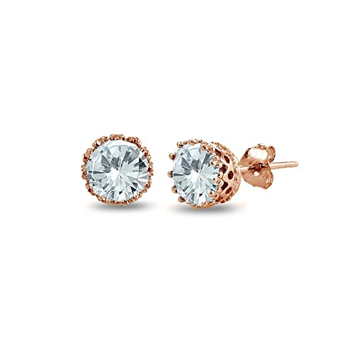 Rose Gold Flashed Sterling Silver Simulated Aquamarine Crown Stud - Gems Simulated Earrings
