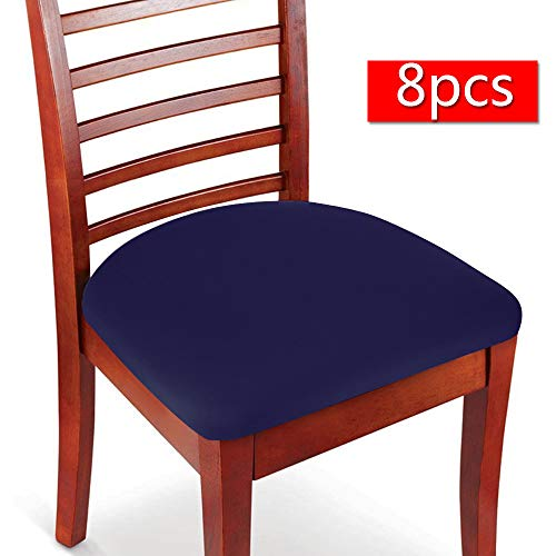 Boshen 2 4 6 8PCS Elastic Spandex Chair Stretch Seat Covers Protector for Dining Room Kitchen Chairs Stretchable (Deep Blue, 8)