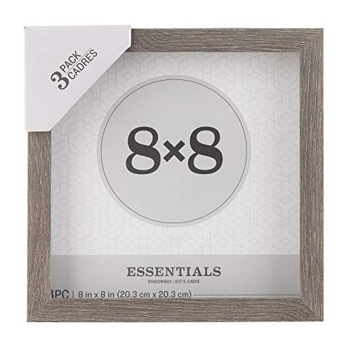 Darice Essentials Gray Shadow Box: 8 x 8 inches, 3 Pieces (Wood Shadow Boxes)