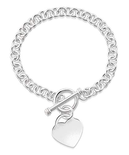 (Verona Jewelers Womens Gold Plated Link Toggle Heart Charm Bracelet- (Rhodium))