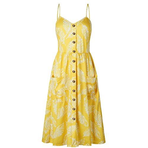 Nuofengkudu Womens Summer Cute Floral Printed Bohemian Spaghetti Strap Button Down Swing Midi Dress with Pockets (Straps Sheath Spaghetti Floor)