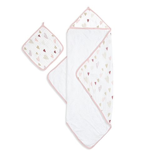 aden + anais Muslin Backed Hooded Towel Set, Heartbreaker