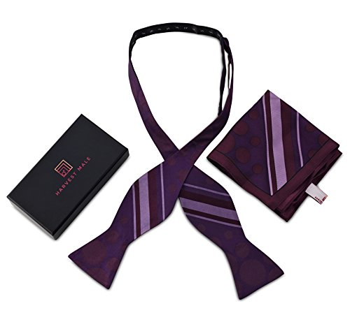 Harvest Male Silk Purple Dot Self Tie Bow Tie & Pocket Square Gift Set For Men